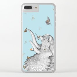 Triceratops and Birdies Clear iPhone Case