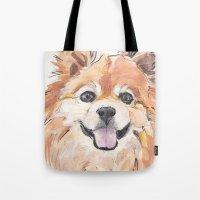 pomeranian Tote Bags featuring EVE / Pomeranian.  by ali_grace_gal