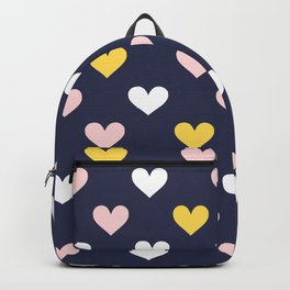 Cute Hearts on Blue Background Backpack