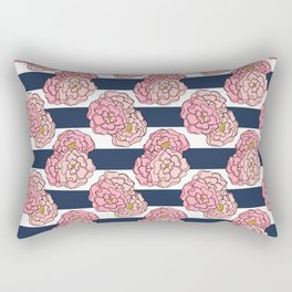 Pink Peony Floral on Navy Blue and White Stripes Rectangular Pillow