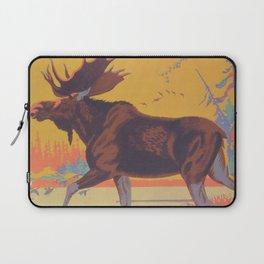 Moose Walking Through Creek Vintage Art Laptop Sleeve