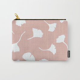 White Ginkgo leaves on rose beige Carry-All Pouch