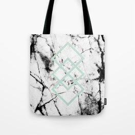 White Marble Concrete Look Mint Green Geometric Squares Tote Bag