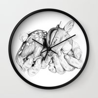 fawn Wall Clocks featuring Fawn by Libby Watkins Illustration