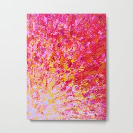 ROMANTIC DAYS - Lovely Sweet Romance, Valentine's Day Sweetheart Pink Red Abstract Acrylic Painting Metal Print