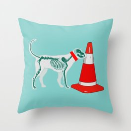 DOG SNIFING TRAFFIC RUBBER CONE Throw Pillow