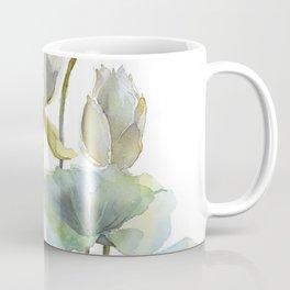 Lotus Plant and Fish Zen Design Watercolor Muted Pallet Botanical Art Coffee Mug