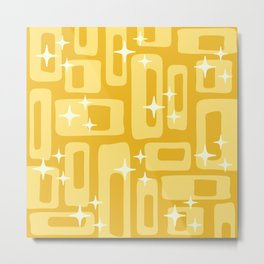 Retro Mid Century Modern Abstract Pattern 127 Yellow Metal Print