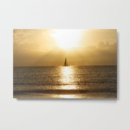 Golden Sunset Sail Metal Print