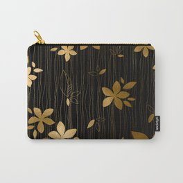 Luxurious Black and Gold Flower Art Deco Pattern Carry-All Pouch