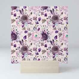 Country chic pink lavender violet watercolor floral Mini Art Print