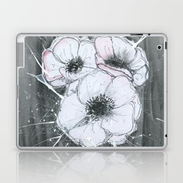 Anemone Flowers illustration gray neutral colors decor Laptop & iPad Skin