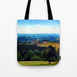 Panoramic view into a summertime scenery Tote Bag