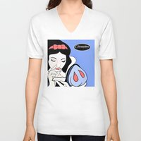 cocaine V-neck T-shirts featuring Snow White: Cocaine Attitude by Trash Apparel
