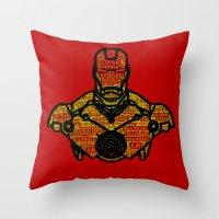 avenger Throw Pillows featuring Iron Avenger by Rachcox