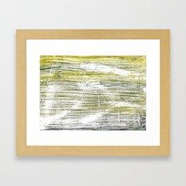 Moss green abstract watercolor Framed Art Print