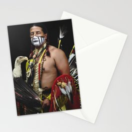 Samuel Tamehorse Gallegos photographed in Pueblo Colorado at a gathering of North American Native Pe Stationery Cards