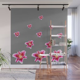 STRAWBERRY COLORED ASIAN LILIES GREY ART Wall Mural