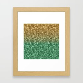 Green and Gold Ombre Shaded Christmas Glitter Framed Art Print