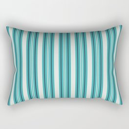 Off White, Aqua, Alabaster and Navy Blue Stripes Thick and Thin Vertical Lines Pattern 2 - Aquarium SW 6767 Rectangular Pillow