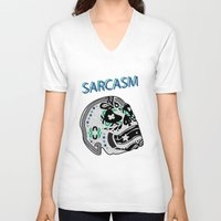 sarcasm V-neck T-shirts featuring Sarcasm by NENE W