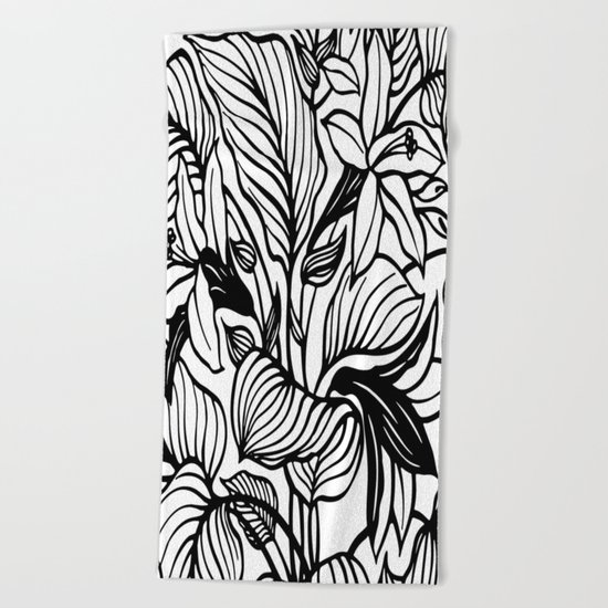 White Black Floral Minimalist Beach Towel
