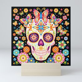 Sugar Skull Art - Sugar Skull with Butterflies and Flowers by Thaneeya McArdle Mini Art Print