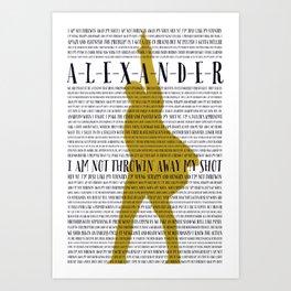 Alexander Hamilton Lyrics Art Print