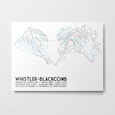 Whistler Blackcomb, BC, Canada - Minimalist Trail Map Metal Print
