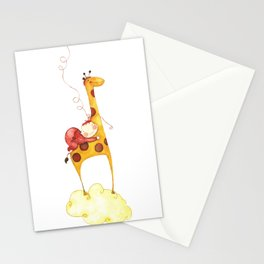 Baby in a giraffe Stationery Cards