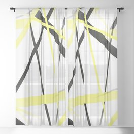 Criss Crossed Lemon Yellow and Black Stripes on White Sheer Curtain