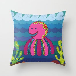 Stylize fantasy color octopus under sea water. Throw Pillow