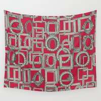 frames Wall Tapestries featuring picture frames aplenty bone red by Sharon Turner