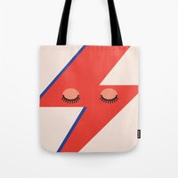 david bowie Tote Bags featuring Music Minimals - David Bowie by Eric Crawford