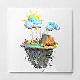 Floating Island Low Poly Style.3D Rendering Metal Print