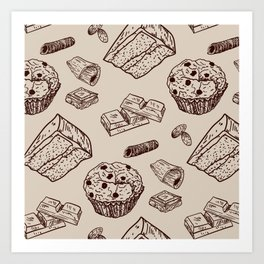 Chocolate Pattern Cupcakes Muffin Art Print