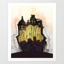 Overcrowded Victorian Home Art Print
