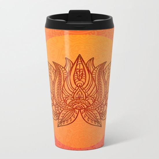 Lotus Flower of Life Meditation  Art Metal Travel Mug