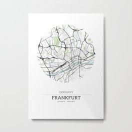 Frankfurt, Germany City Map with GPS Coordinates Metal Print