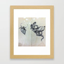 Blue Ringed Octopus and Crab Framed Art Print