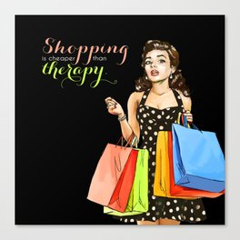 Retro Pinup Girl Shopping Retail Therapy Canvas Print