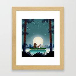 Bear and Fox kayaking Framed Art Print