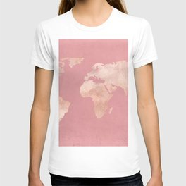 Rosegold World Map Sans Type T-shirt