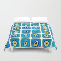 evil eye Duvet Covers featuring Evil Eye Squares by Katayoon Photography