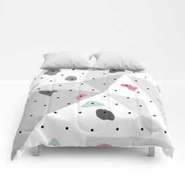 Abstract geometric climbing gym boulders pink mint Comforters