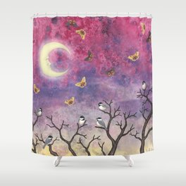 chickadees and io moths in the moonlit sky Shower Curtain