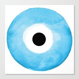 Watercolor Evil Eye Canvas Print