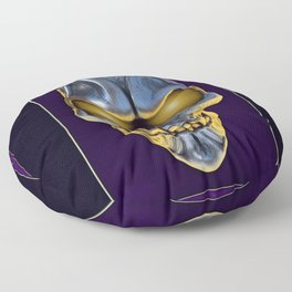 Skull with glowing purple eyes Floor Pillow