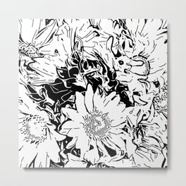 Inky Black and White Floral 1 Metal Print