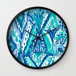 AQUA FRINGE TRIBAL Ikat Watercolor Wall Clock